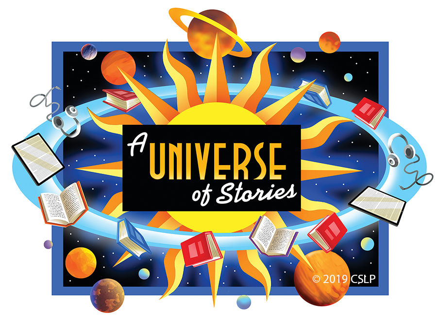 A Universe of Stories art with library materials orbiting the sun