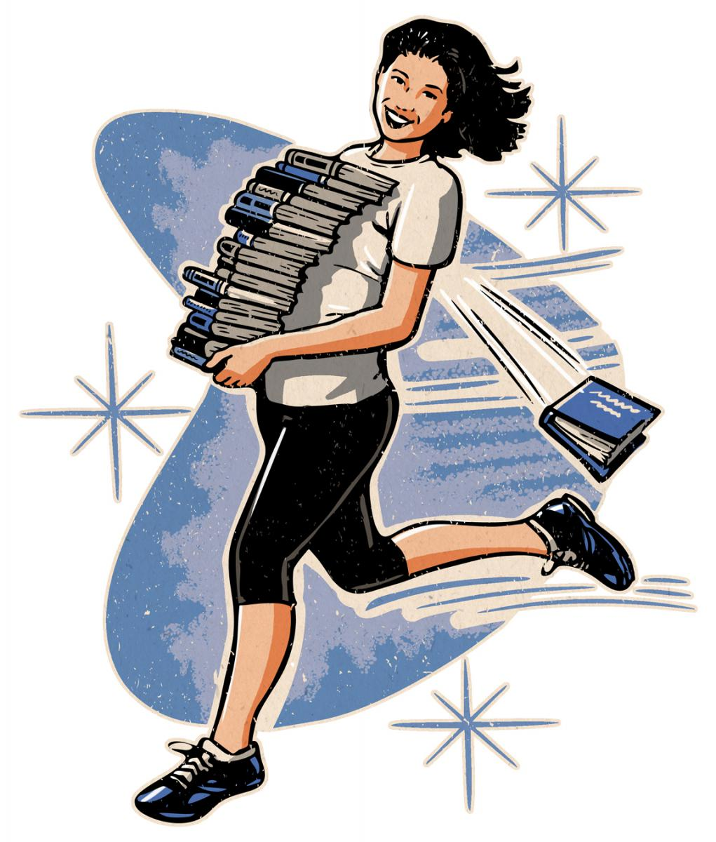 running woman with teetering pile of books