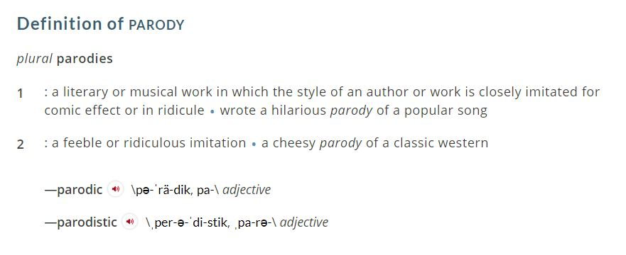 definition of parody from Merriam-Webster