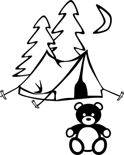 teddy bear sitting in front of a tent and pine trees under the quarter moon