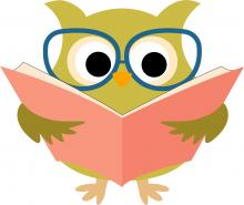 owl wearing glasses and reading a book