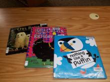 3 children's book covers withh birds on the fronts