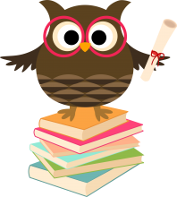 cartoon owl standing on books