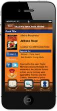 smartphone showing the homepage of YALSA teen book finder app