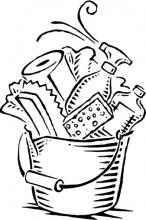 clipart of a bucket filled with cleaning supplies